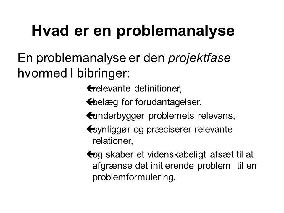 En problemanalyse er den projektfase hvormed I bibringer: çrelevante definitioner, çbelæg for forudantagelser, çunderbygger problemets relevans, çsynliggør og præciserer relevante relationer, çog skaber et videnskabeligt afsæt til at afgrænse det initierende problem til en problemformulering.