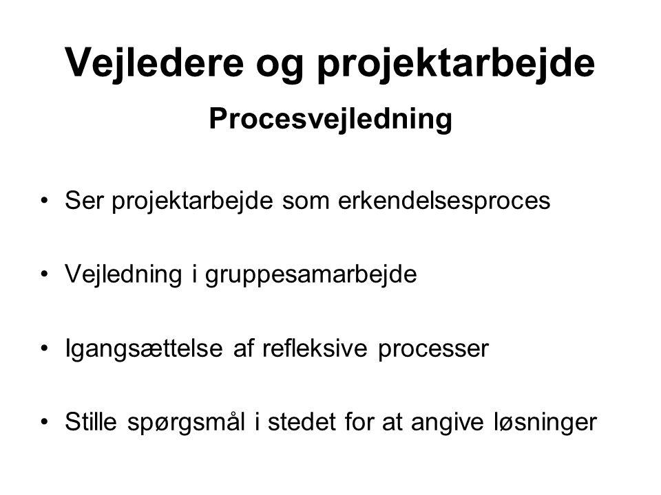 Procesvejledning Ser projektarbejde som erkendelsesproces Vejledning i gruppesamarbejde Igangsættelse af refleksive processer Stille spørgsmål i stedet for at angive løsninger Vejledere og projektarbejde
