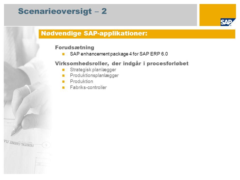 Scenarieoversigt – 2 Forudsætning SAP enhancement package 4 for SAP ERP 6.0 Virksomhedsroller, der indgår i procesforløbet Strategisk planlægger Produktionsplanlægger Produktion Fabriks-controller Nødvendige SAP-applikationer: