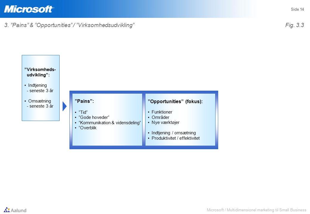 Microsoft / Multidimensionel marketing til Small Business Side 14 Pains : Tid Gode hoveder Kommunikation & vidensdeling Overblik Opportunities (fokus): Funktioner Områder Nye værktøjer Indtjening / omsætning Produktivitet / effektivitet Virksomheds- udvikling : Indtjening - seneste 3 år Omsætning - seneste 3 år 3.