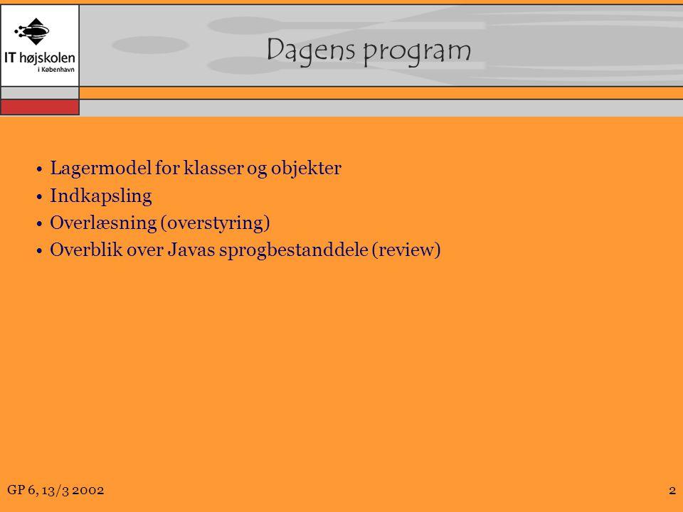 GP 6, 13/3 20022 Dagens program Lagermodel for klasser og objekter Indkapsling Overlæsning (overstyring) Overblik over Javas sprogbestanddele (review)