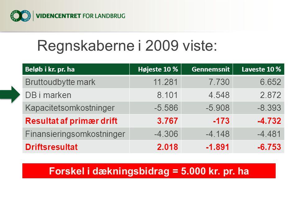 Regnskaberne i 2009 viste: Beløb i kr. pr.