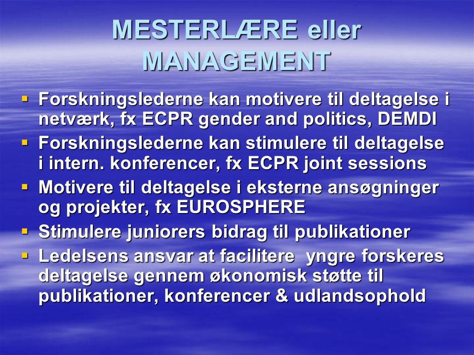 MESTERLÆRE eller MANAGEMENT  Forskningslederne kan motivere til deltagelse i netværk, fx ECPR gender and politics, DEMDI  Forskningslederne kan stimulere til deltagelse i intern.