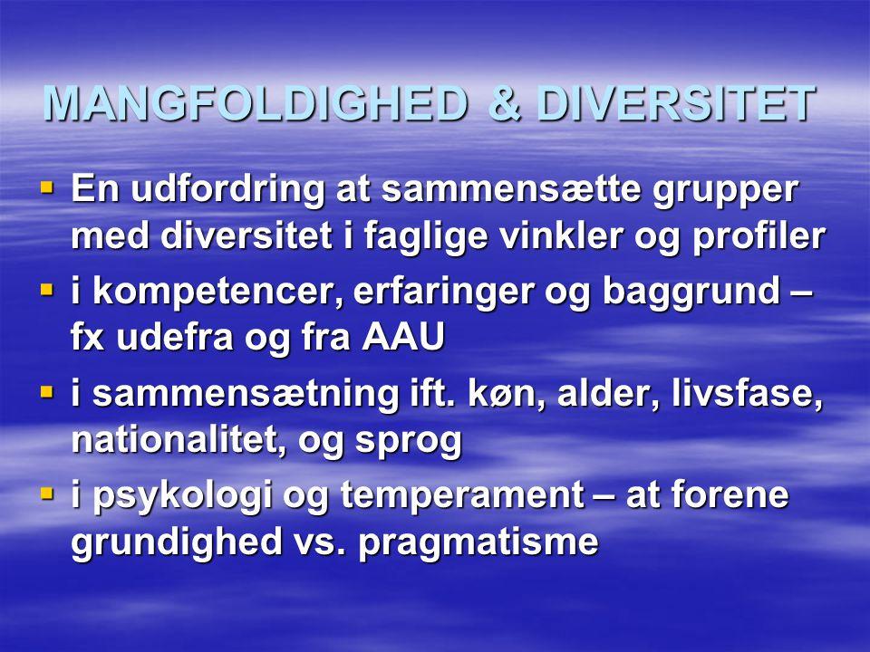 MANGFOLDIGHED & DIVERSITET  En udfordring at sammensætte grupper med diversitet i faglige vinkler og profiler  i kompetencer, erfaringer og baggrund – fx udefra og fra AAU  i sammensætning ift.