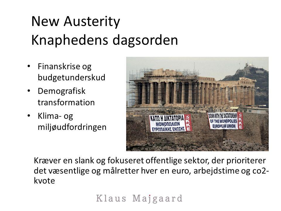 New Austerity Knaphedens dagsorden Finanskrise og budgetunderskud Demografisk transformation Klima- og miljøudfordringen Kræver en slank og fokuseret offentlige sektor, der prioriterer det væsentlige og målretter hver en euro, arbejdstime og co2- kvote
