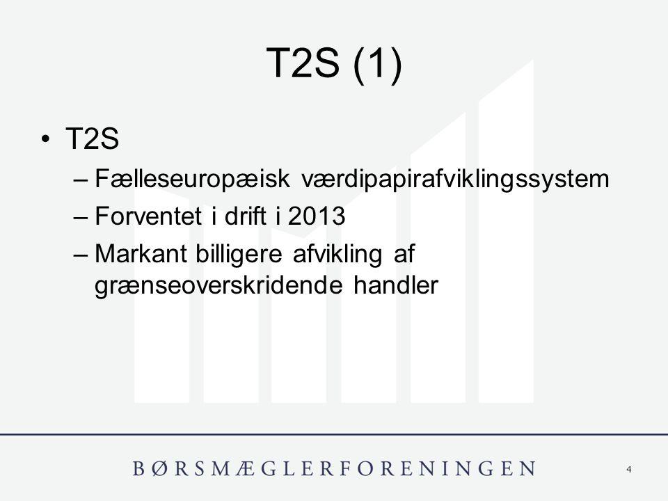4 T2S (1) T2S –Fælleseuropæisk værdipapirafviklingssystem –Forventet i drift i 2013 –Markant billigere afvikling af grænseoverskridende handler