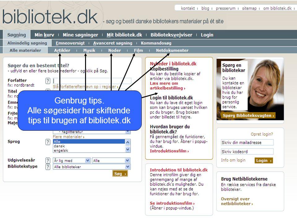Genbrug tips. Alle søgesider har skiftende tips til brugen af bibliotek.dk