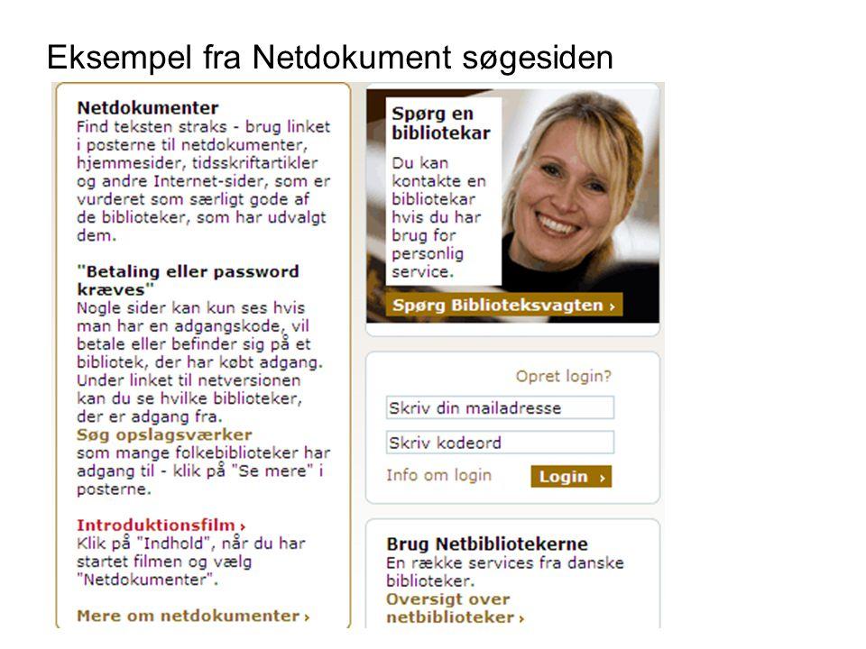 Eksempel fra Netdokument søgesiden