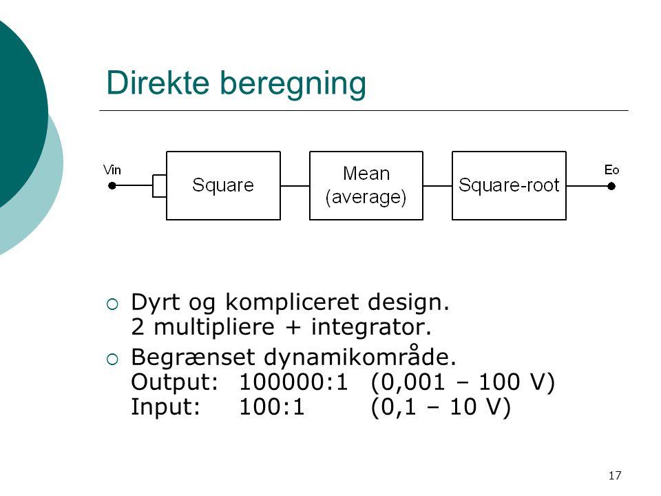 17 Direkte beregning  Dyrt og kompliceret design.