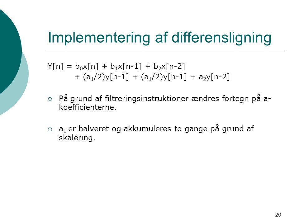 20 Implementering af differensligning Y[n] = b 0 x[n] + b 1 x[n-1] + b 2 x[n-2] + (a 1 /2)y[n-1] + (a 1 /2)y[n-1] + a 2 y[n-2]  På grund af filtreringsinstruktioner ændres fortegn på a- koefficienterne.