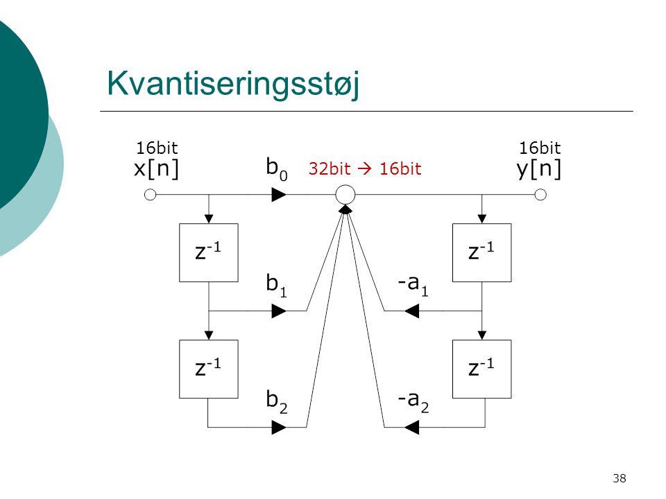 38 Kvantiseringsstøj 16bit 32bit  16bit