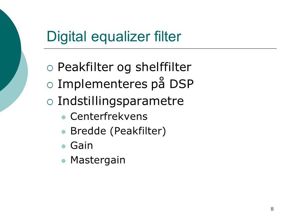 8 Digital equalizer filter  Peakfilter og shelffilter  Implementeres på DSP  Indstillingsparametre Centerfrekvens Bredde (Peakfilter) Gain Mastergain