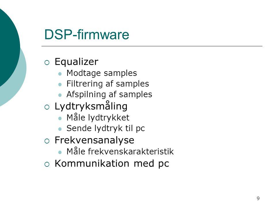 9 DSP-firmware  Equalizer Modtage samples Filtrering af samples Afspilning af samples  Lydtryksmåling Måle lydtrykket Sende lydtryk til pc  Frekvensanalyse Måle frekvenskarakteristik  Kommunikation med pc
