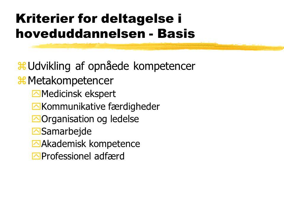 Kriterier for deltagelse i hoveduddannelsen - Basis zUdvikling af opnåede kompetencer zMetakompetencer yMedicinsk ekspert yKommunikative færdigheder yOrganisation og ledelse ySamarbejde yAkademisk kompetence yProfessionel adfærd