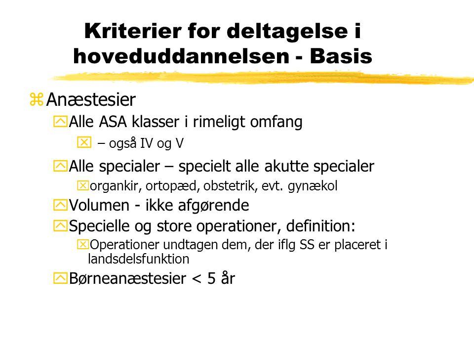 Kriterier for deltagelse i hoveduddannelsen - Basis zAnæstesier yAlle ASA klasser i rimeligt omfang x – også IV og V yAlle specialer – specielt alle akutte specialer xorgankir, ortopæd, obstetrik, evt.