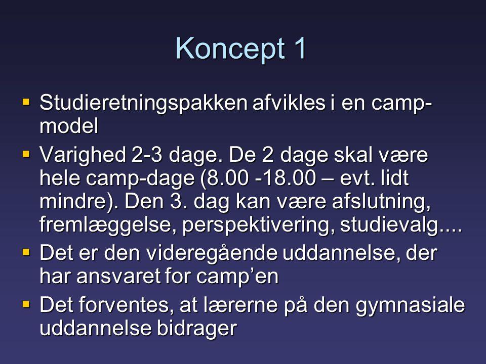 Koncept 1  Studieretningspakken afvikles i en camp- model  Varighed 2-3 dage.