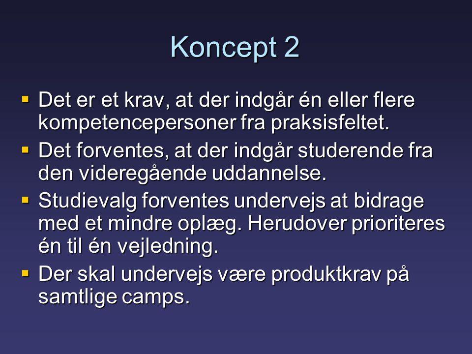 Koncept 2  Det er et krav, at der indgår én eller flere kompetencepersoner fra praksisfeltet.