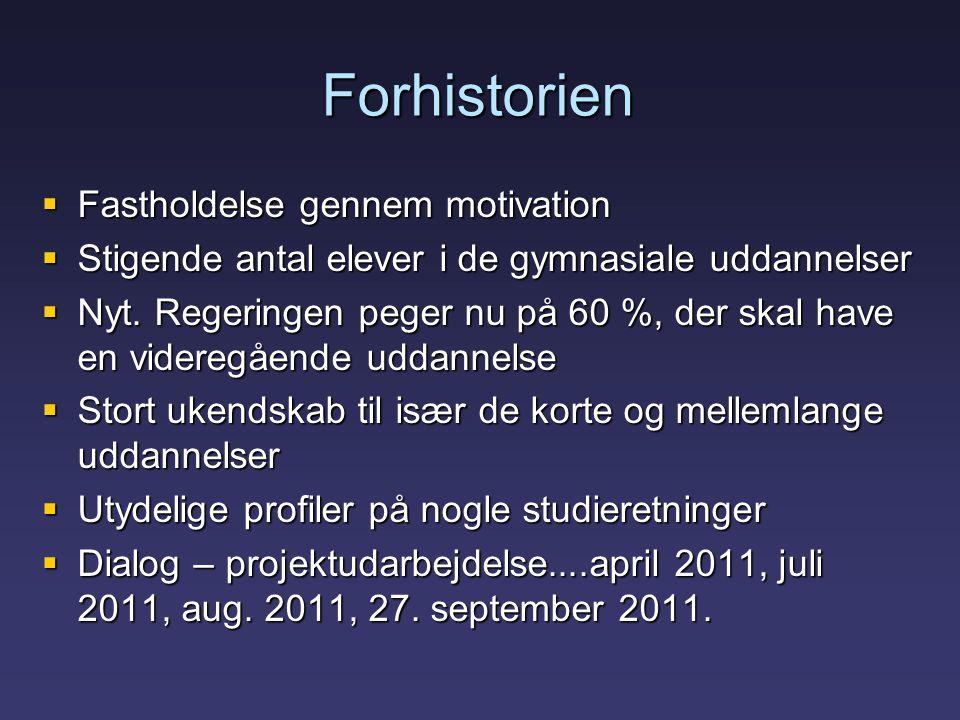 Forhistorien  Fastholdelse gennem motivation  Stigende antal elever i de gymnasiale uddannelser  Nyt.