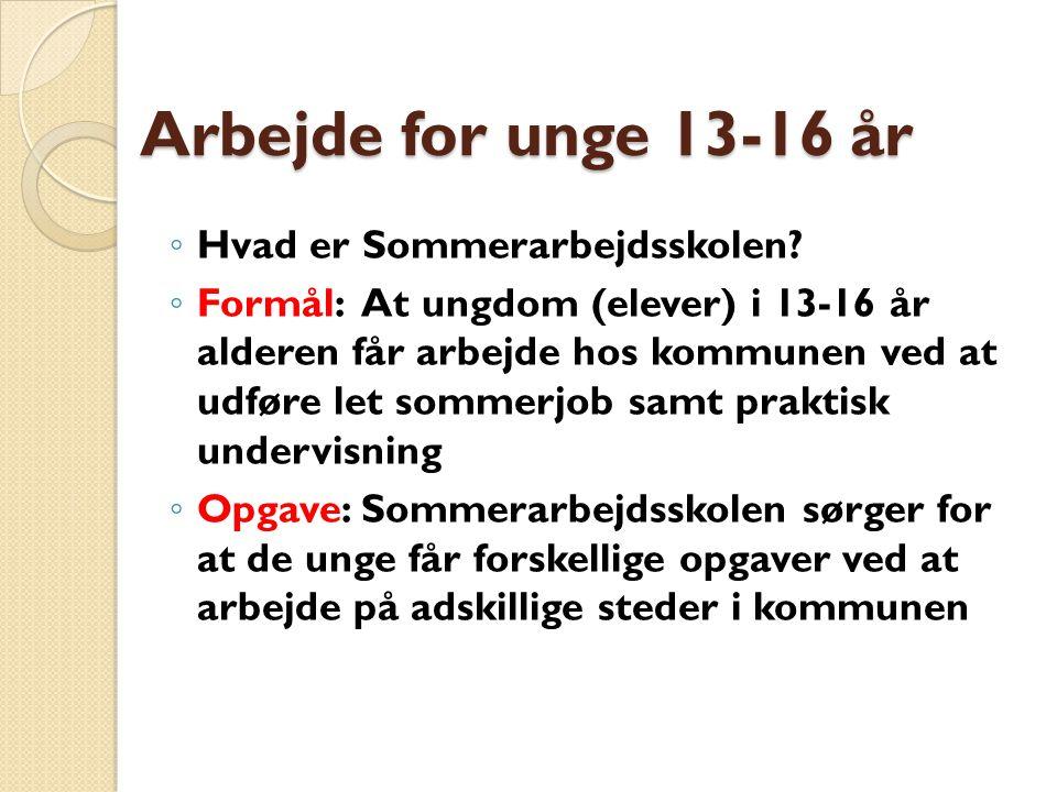 Arbejde for unge 13-16 år ◦ Hvad er Sommerarbejdsskolen.