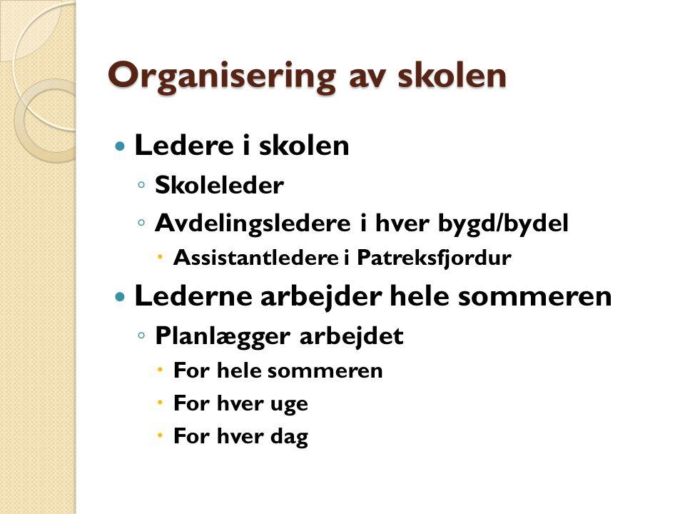 Organisering av skolen Ledere i skolen ◦ Skoleleder ◦ Avdelingsledere i hver bygd/bydel  Assistantledere i Patreksfjordur Lederne arbejder hele sommeren ◦ Planlægger arbejdet  For hele sommeren  For hver uge  For hver dag