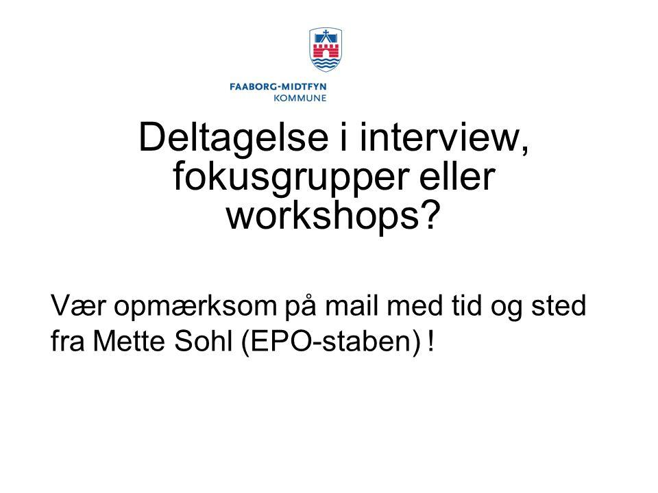 Deltagelse i interview, fokusgrupper eller workshops.
