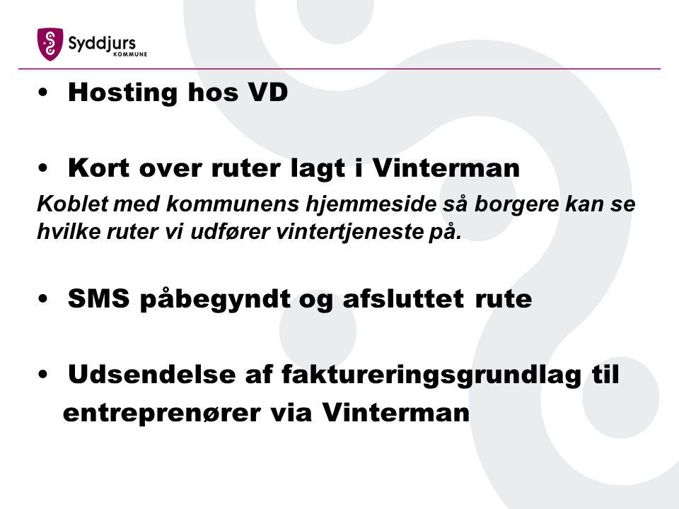 Hosting hos VD Kort over ruter lagt i Vinterman Koblet med kommunens hjemmeside så borgere kan se hvilke ruter vi udfører vintertjeneste på.