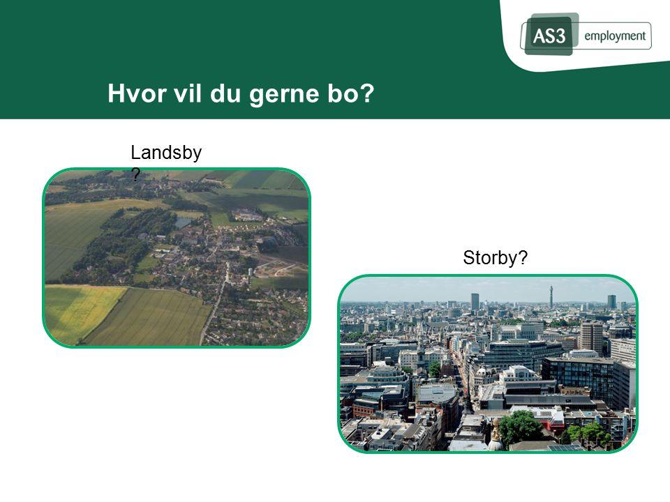 Hvor vil du gerne bo Landsby Storby
