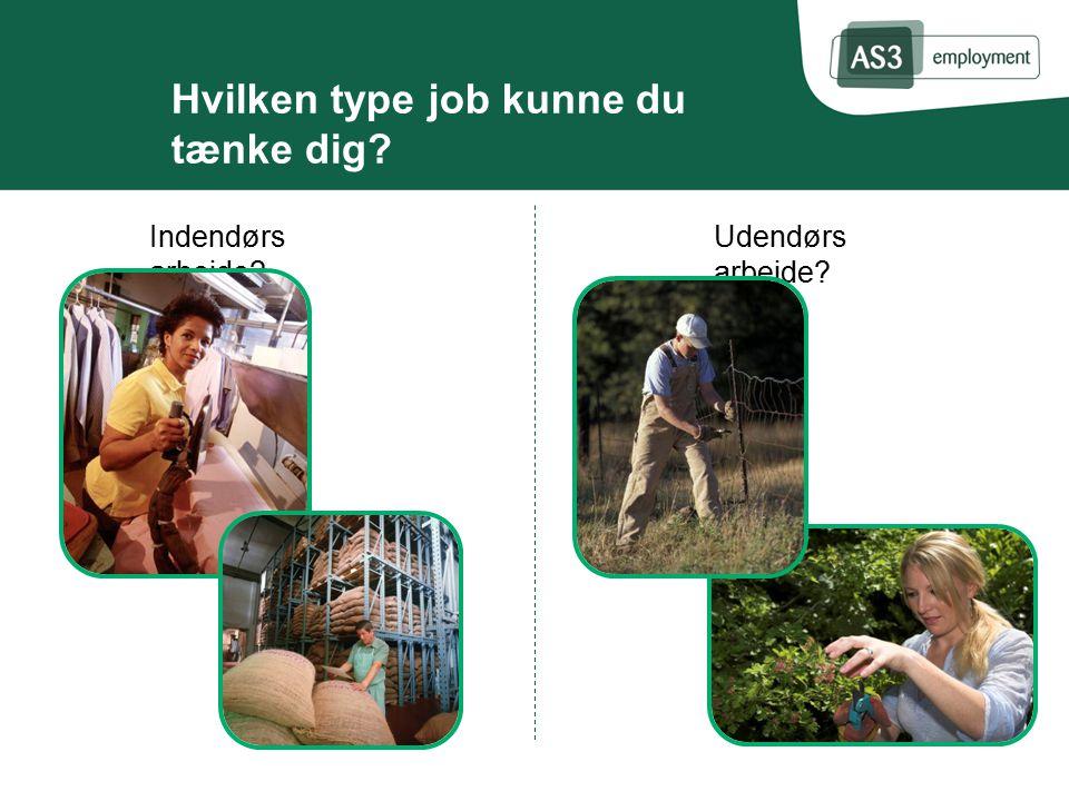 Hvilken type job kunne du tænke dig Udendørs arbejde Indendørs arbejde