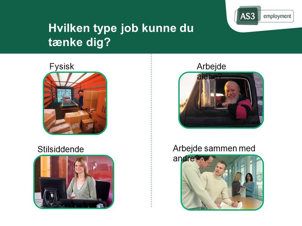 Hvilken type job kunne du tænke dig. Fysisk arbejde.
