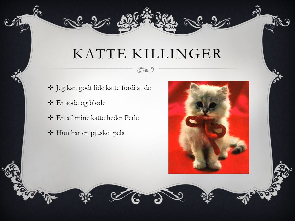 KATTE KILLINGER  Jeg kan godt lide katte fordi at de  Er søde og bløde  En af mine katte heder Perle  Hun har en pjusket pels