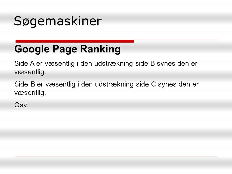 Søgemaskiner Google Page Ranking Side A er væsentlig i den udstrækning side B synes den er væsentlig.