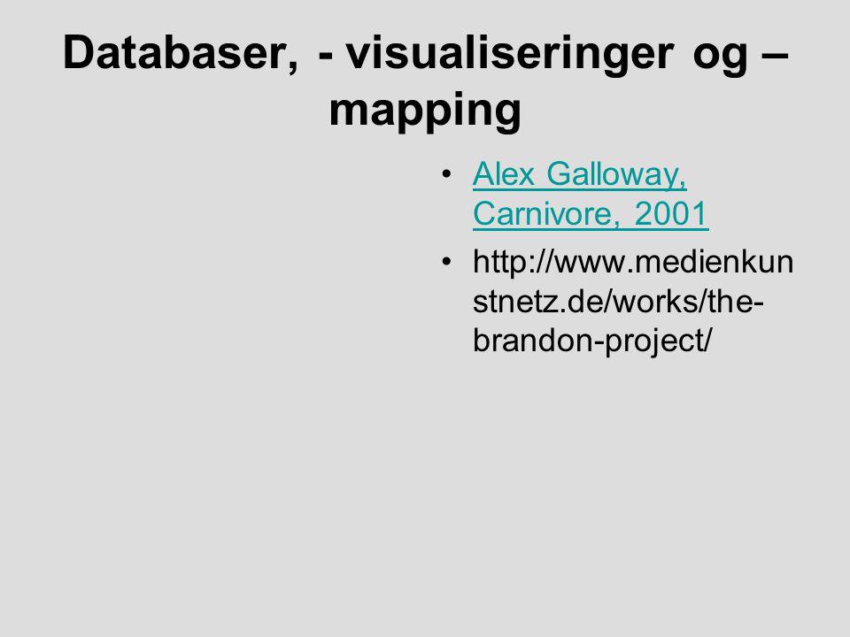 Databaser, - visualiseringer og – mapping Alex Galloway, Carnivore, 2001Alex Galloway, Carnivore, 2001 http://www.medienkun stnetz.de/works/the- brandon-project/