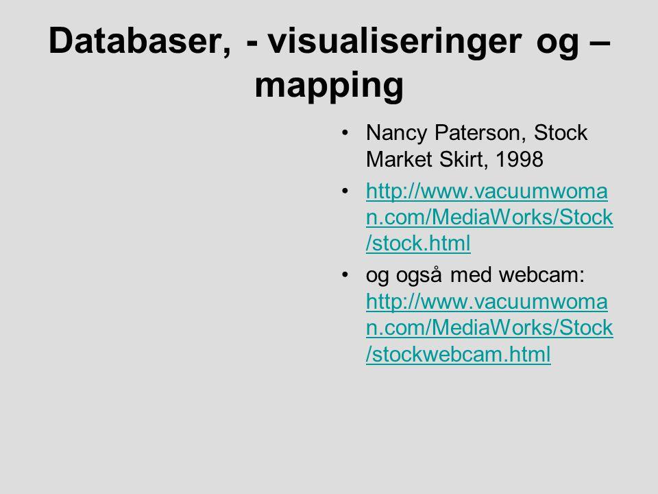 Databaser, - visualiseringer og – mapping Nancy Paterson, Stock Market Skirt, 1998 http://www.vacuumwoma n.com/MediaWorks/Stock /stock.htmlhttp://www.vacuumwoma n.com/MediaWorks/Stock /stock.html og også med webcam: http://www.vacuumwoma n.com/MediaWorks/Stock /stockwebcam.html http://www.vacuumwoma n.com/MediaWorks/Stock /stockwebcam.html