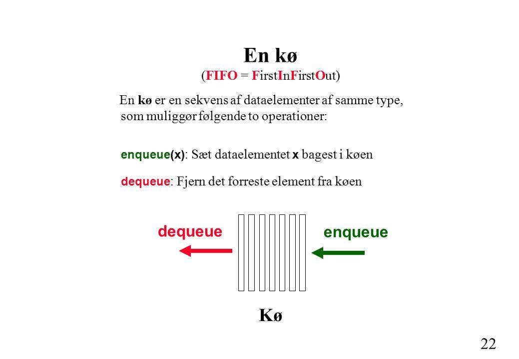 22 En kø (FIFO = FirstInFirstOut) En kø er en sekvens af dataelementer af samme type, som muliggør følgende to operationer: enqueue(x): Sæt dataelementet x bagest i køen dequeue: Fjern det forreste element fra køen dequeue enqueue Kø