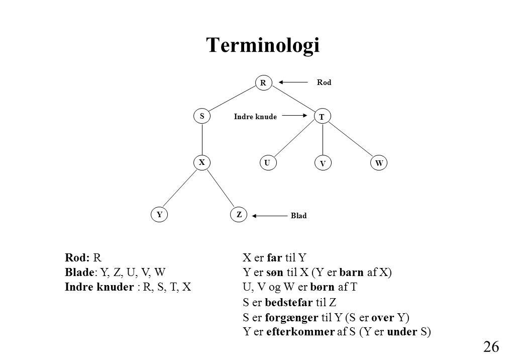 26 Terminologi Rod: R Blade: Y, Z, U, V, W Indre knuder : R, S, T, X Rod R S X YZ T U V W Blad Indre knude X er far til Y Y er søn til X (Y er barn af X) U, V og W er børn af T S er bedstefar til Z S er forgænger til Y (S er over Y) Y er efterkommer af S (Y er under S)