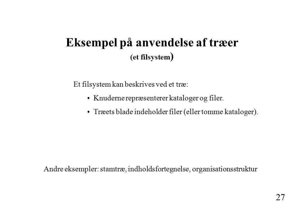 27 Eksempel på anvendelse af træer (et filsystem ) Et filsystem kan beskrives ved et træ: Knuderne repræsenterer kataloger og filer.
