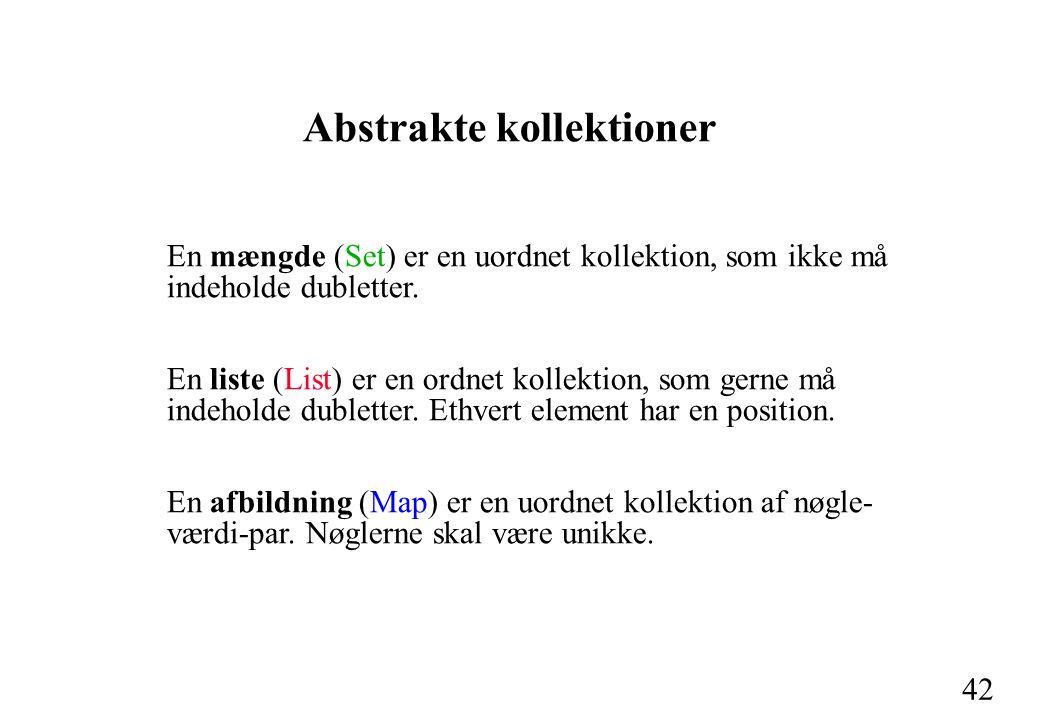 42 Abstrakte kollektioner En mængde (Set) er en uordnet kollektion, som ikke må indeholde dubletter.