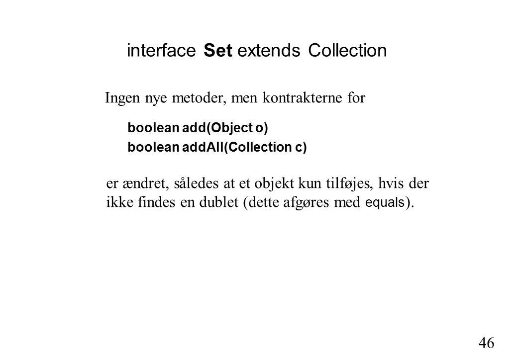 46 interface Set extends Collection boolean add(Object o) boolean addAll(Collection c) Ingen nye metoder, men kontrakterne for er ændret, således at et objekt kun tilføjes, hvis der ikke findes en dublet (dette afgøres med equals ).