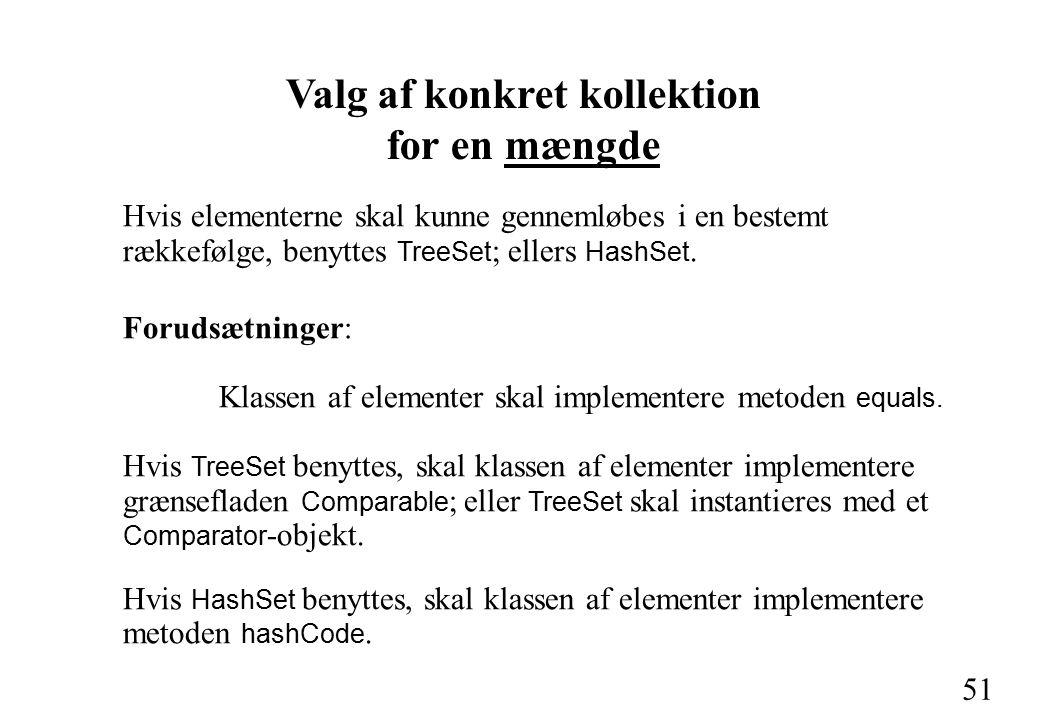 51 Valg af konkret kollektion for en mængde Hvis elementerne skal kunne gennemløbes i en bestemt rækkefølge, benyttes TreeSet ; ellers HashSet.