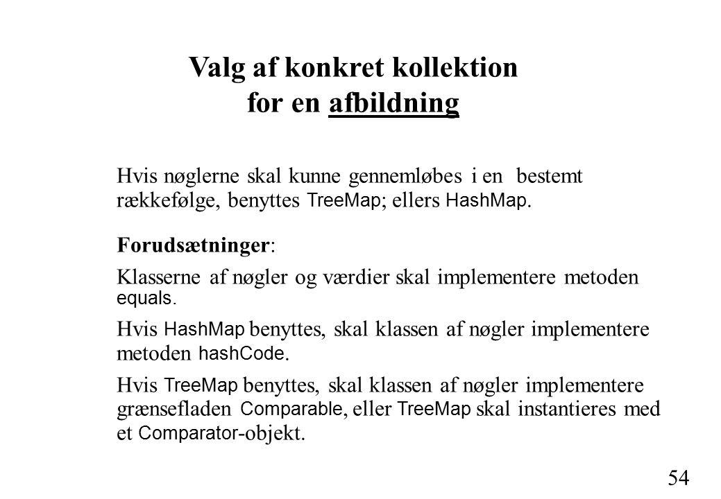 54 Valg af konkret kollektion for en afbildning Hvis nøglerne skal kunne gennemløbes i en bestemt rækkefølge, benyttes TreeMap ; ellers HashMap.