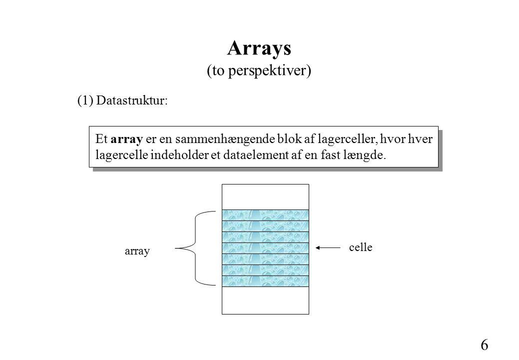 6 (1) Datastruktur: Et array er en sammenhængende blok af lagerceller, hvor hver lagercelle indeholder et dataelement af en fast længde.