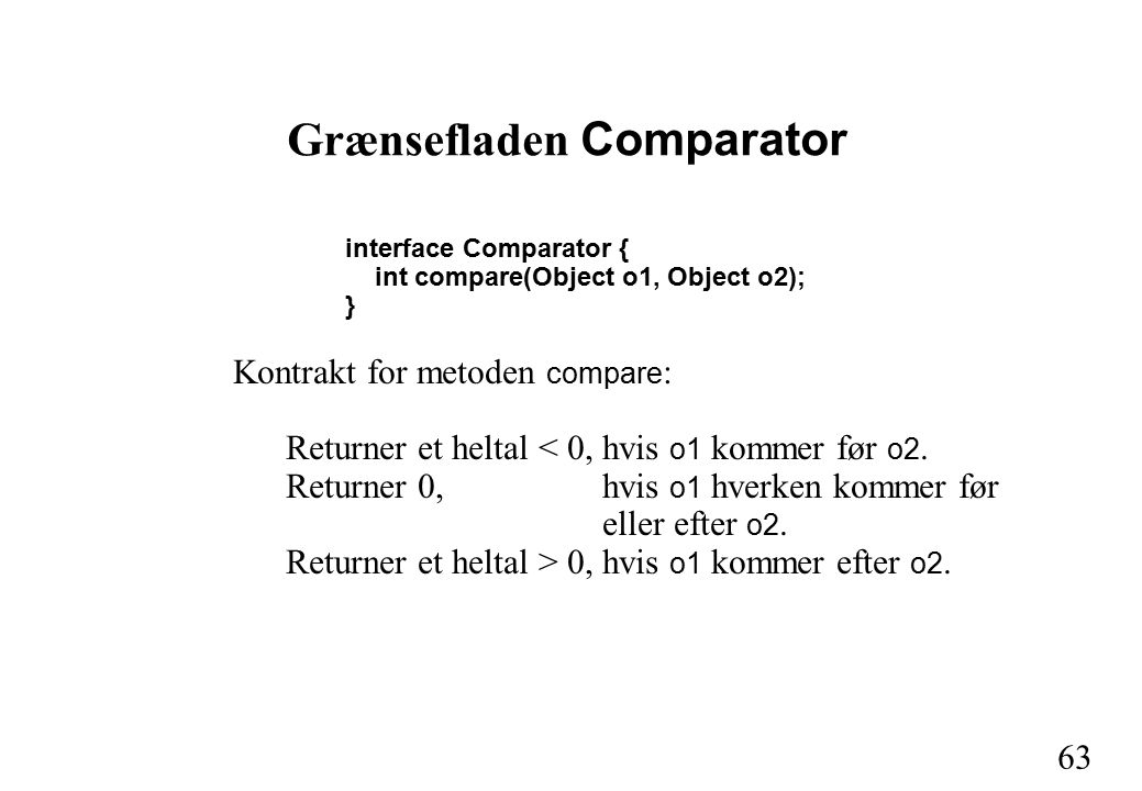 63 Grænsefladen Comparator interface Comparator { int compare(Object o1, Object o2); } Kontrakt for metoden compare : Returner et heltal < 0,hvis o1 kommer før o2.