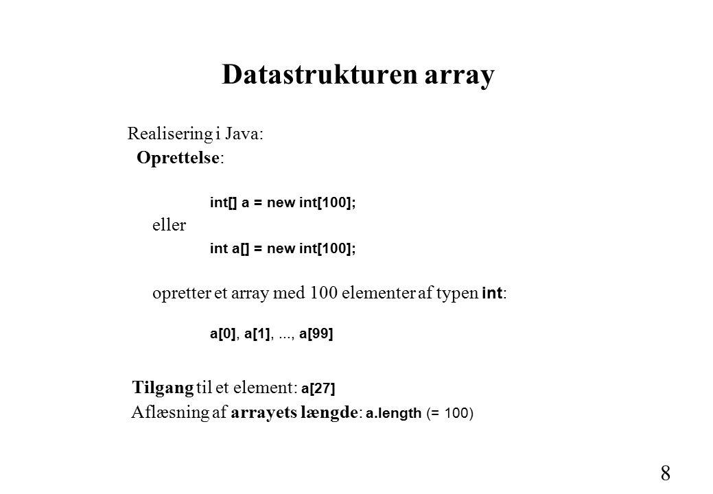 8 Datastrukturen array Realisering i Java: Oprettelse: int[] a = new int[100]; eller int a[] = new int[100]; opretter et array med 100 elementer af typen int : a[0], a[1],..., a[99] Tilgang til et element: a[27] Aflæsning af arrayets længde: a.length (= 100)