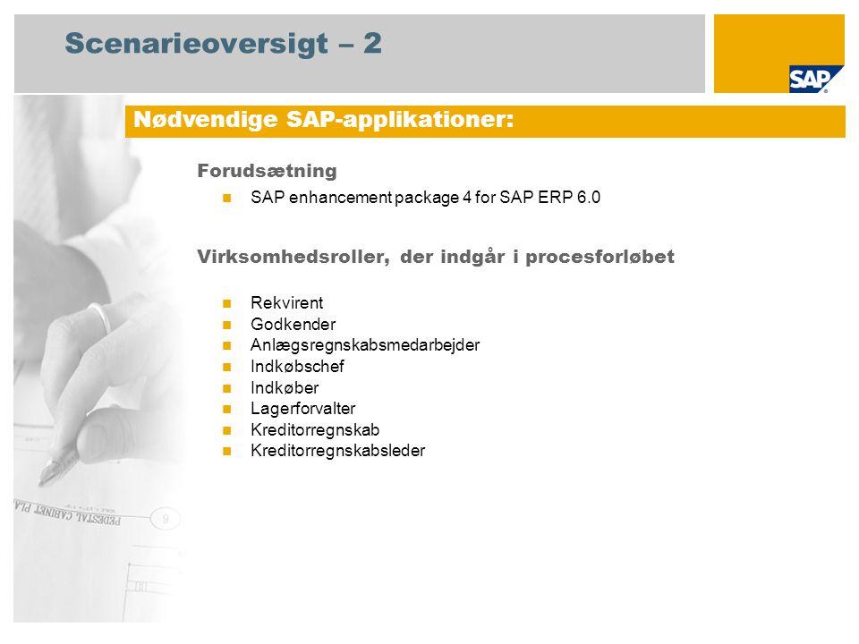 Scenarieoversigt – 2 Forudsætning SAP enhancement package 4 for SAP ERP 6.0 Virksomhedsroller, der indgår i procesforløbet Rekvirent Godkender Anlægsregnskabsmedarbejder Indkøbschef Indkøber Lagerforvalter Kreditorregnskab Kreditorregnskabsleder Nødvendige SAP-applikationer: