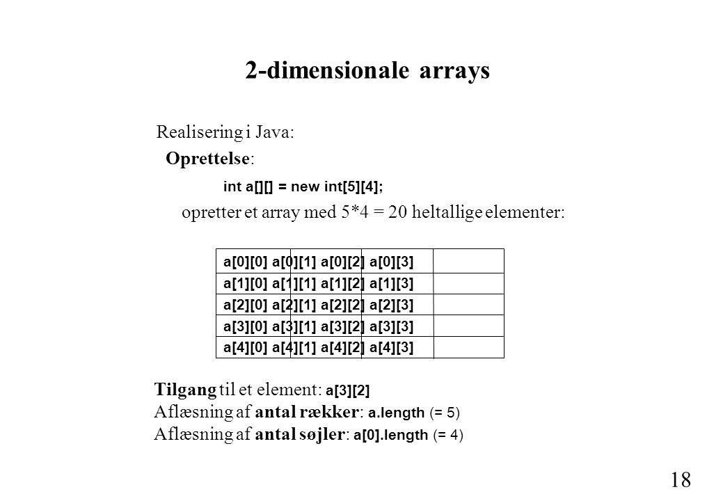 18 Realisering i Java: Oprettelse: int a[][] = new int[5][4]; opretter et array med 5*4 = 20 heltallige elementer: a[0][0] a[0][1] a[0][2] a[0][3] a[1][0] a[1][1] a[1][2] a[1][3] a[2][0] a[2][1] a[2][2] a[2][3] a[3][0] a[3][1] a[3][2] a[3][3] a[4][0] a[4][1] a[4][2] a[4][3] 2-dimensionale arrays Tilgang til et element: a[3][2] Aflæsning af antal rækker: a.length (= 5) Aflæsning af antal søjler: a[0].length (= 4)