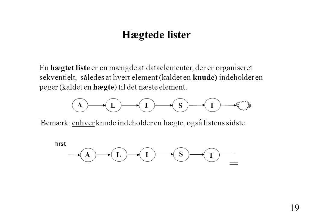 19 En hægtet liste er en mængde at dataelementer, der er organiseret sekventielt, således at hvert element (kaldet en knude) indeholder en peger (kaldet en hægte) til det næste element.