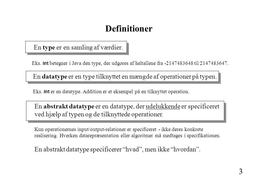 3 Definitioner En type er en samling af værdier. Eks.