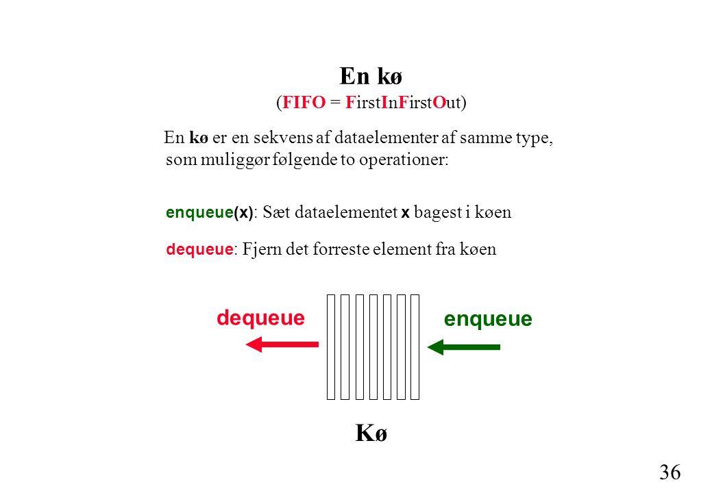 36 En kø (FIFO = FirstInFirstOut) En kø er en sekvens af dataelementer af samme type, som muliggør følgende to operationer: enqueue(x): Sæt dataelementet x bagest i køen dequeue: Fjern det forreste element fra køen dequeue enqueue Kø