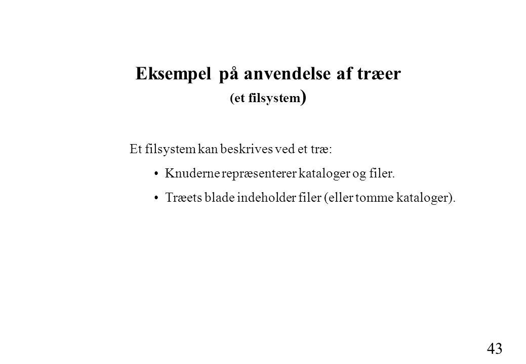 43 Eksempel på anvendelse af træer (et filsystem ) Et filsystem kan beskrives ved et træ: Knuderne repræsenterer kataloger og filer.