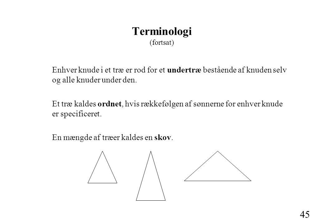 45 Terminologi (fortsat) Enhver knude i et træ er rod for et undertræ bestående af knuden selv og alle knuder under den.